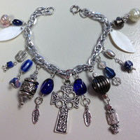 Bracelet Chunky Charm Cross Cobalt Blue Silver Dangle OOAK