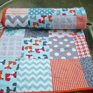Modern baby quilt,baby quilt,baby boy bedding,baby girl quilt,rustic,woodland,crib bedding,fox,orange,grey,teal,aqua,chevron-Little Foxes
