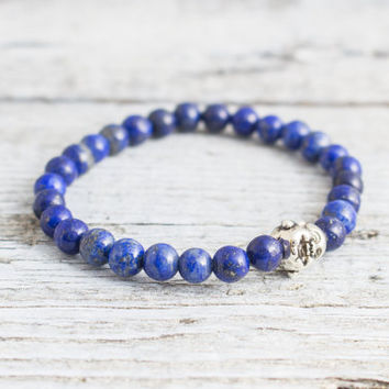 Blue lapis lazuli beaded stretchy bracelet with smiling Buddha, made to order yoga bracelet, mens bracelet, womens bracelet