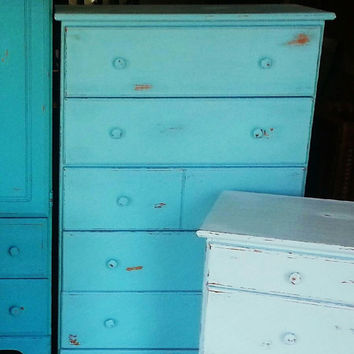 Shabby Chic Dresser, Blue Nightstands, Blue Painted Nightstands, Chalk Painted, Cottage, Beach Nightstands, Blue Chalk Painted Shabby Chic