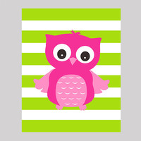 Hot Pink Owl on Lime Stripes Nursery Decor Baby Print Bathroom Art CUSTOMIZE YOUR COLORS 8x10 Prints Nursery Decor Art Baby Room Decor Kids