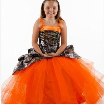 ae12a6a0e 2017 flower girl dresses camouflage pageant gowns long camo kid