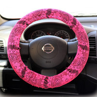 Steering wheel cover for wheel car accessories Hot Pink Lace Steering Wheel Cover