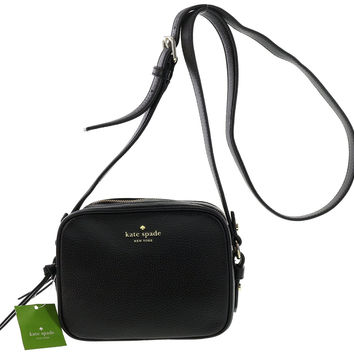 Kate Spade New York Mulberry Street Pyper Pebbled Leather Crossbody Shoulder Bag (Black)