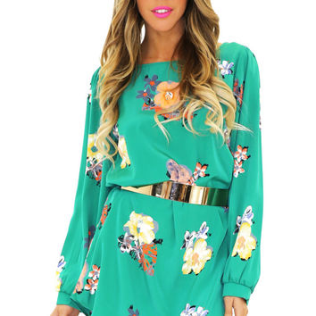 JENA FLORAL PRINT SHIFT DRESS - Green