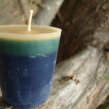 ANTIQUE SANDALWOOD CANDLE, Blue Green Eco Friendly Votive, Repurposed Candle, Container Candle, Home Decor, Unique Gift Idea, Hippie Candle
