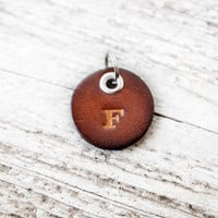 Small Personalized Leather Keychain with Initial