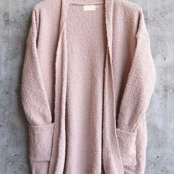 ONETOW dreamers - pink boucle cozy open front cardigan Day-First?