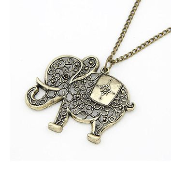 Women collier Girl Simple jewelry Retro Bronze Elephant Chain Necklace Pendant Jewelry vintage chain ornamentation suspension