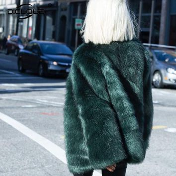 Chic New Autumn Winter Womens Faux Fur Coats Jackets Black White Dark Green Pink Long Fur Coat Fluffy Cozy Overcoat Outerwear