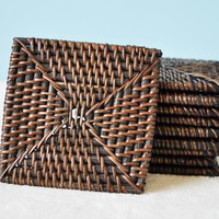 Set of 4 Rattan Coasters (DARK)