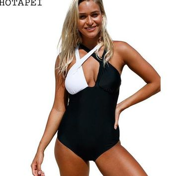 One Piece Bathing Suit Hotapei black  Swimsuit monokini Girly Sailor Lace Up Back swimwear LC410241 women 2018 new sexy bathing suits Bodysuit KO_9_1