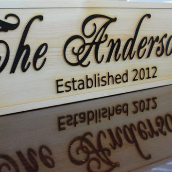 Personalized CARVED Custom Wooden Sign Family name sign by michaelswoodworks