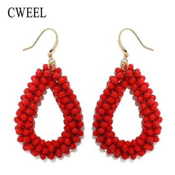 CWEEL Dangle Earrings For Woman Crystal Faceted Beads Handmade Big Earring Long Pendants Boho Earings Fashion Jewelry Brincos