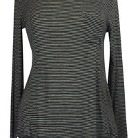 Lazy Sunday Striped High Low Long Sleeve Jersey Top - Black/White