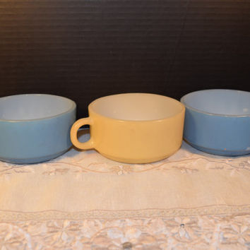 Glasbake Stackable Soup Dish Trio Vintage Glassbake Handle Soup Bowls Blue Yellow Glasbake Soup Cups Mug Mid Century Mod Kitchen Made in USA