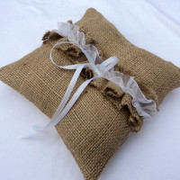 Burlap Ring Bearer Pillow Rustic Chic Wedding Decor