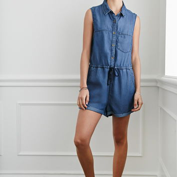 Buttoned Chambray Romper