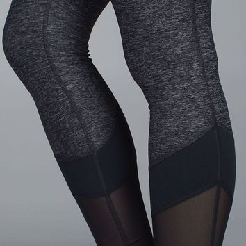 lululemon Fashion Print Net yarn Splicing Exercise Fitness Gym Yoga Running Leggings