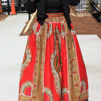Bright Red African Dashiki Maxi Skirt