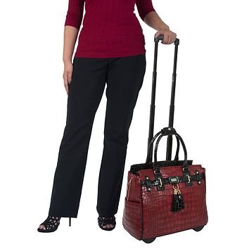 """THE REDSTONE"" Bordeaux Red Alligator Rolling  iPad, Tablet or Laptop Tote Belmont Carryall Bag"