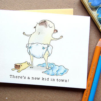 New Baby Boy Card - New Puppy, Puppy Announcement, Puppy Adoption Card, Pug Mom Card, Congratulations, Pug Puppy Art by Inkpug!