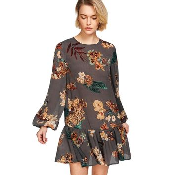 Fashion Dresses Multicolor Botanical Print Bishop Sleeve Ruffle Dress Drop Waist Long Sleeve Ruffle Hem Dress