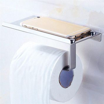 Bathroom Toilet Paper Holder Towel with Shelf Mobile Phone