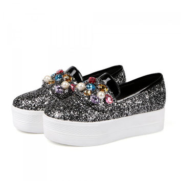 Glitter Pearl Women Loafers Platform Shoes 4709