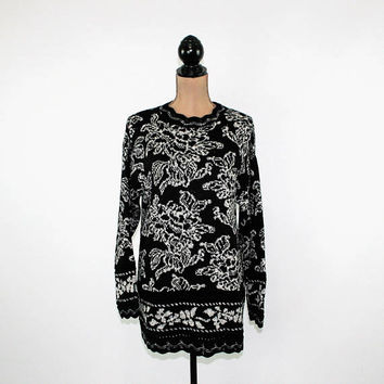 80s Sweater Women Large Sparkly Long Sweater Black Silver Floral Slouchy Pullover Knit Tunic 1980s Sweater Vintage Clothing Womens Clothing