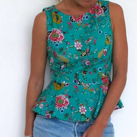Peplum Tank - Fitted Summer Top in a Feminine Bright Fun Floral Print with Peplum Hem & Crew Neckline - Hot Pink, Bright Orange, Turquoise