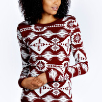 Emily All Over Aztec Print Jumper