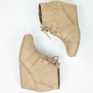 Faux Suede Light Khaki Wedges