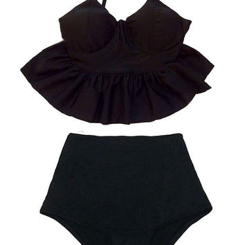 Black Long Strap Top and High waisted waist Bottom Two-piece Bikini Bikinis Two-piece 2PC Swimsuit Swimwear Swim Bathing suit dress wear S M