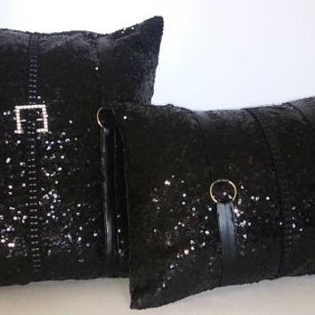 Black Glitzy Sequins with Gold Buckles Luxury Pillow Cover Set
