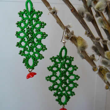 "Tatting earrings ""Spring"" -  Handcrafted jewelry green - gift  for her -  party cocktail - lace with beads"