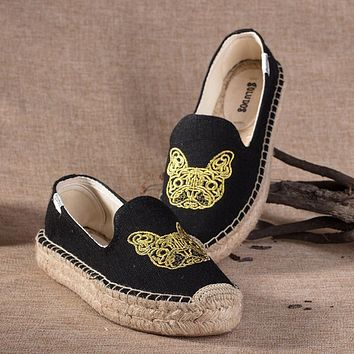 Soludos Women Thick Bottomed Black Bulldog Embroidered Straw Shoes