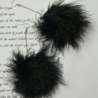 Pom Earrings - Black Fluffy Marabou Feather Earrings - Pom Pom Earrings - clueless - mean girls