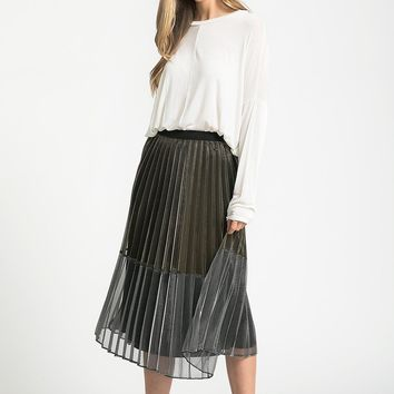 Two Tone Metallic Skirt | ModLi