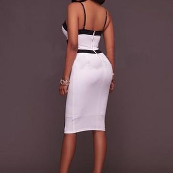 White Back Zipper Hollow Women's Bodycon Dress
