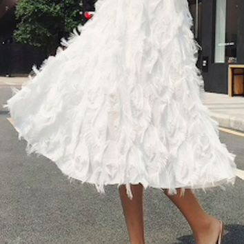 New Spring Summer Bubble Tulle Tassel Skirt Women Tulle Skirts Female Tutu Skirts Pleated Skirt Black White Pink