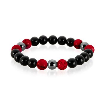 Crucible Men's Red Turquoise, Onyx and Hematite Polished Natural Healing Stone Bead Stretch Bracelet - 8.5 inches (10mm Wide) | Overstock.com Shopping - The Best Deals on Men's Bracelets