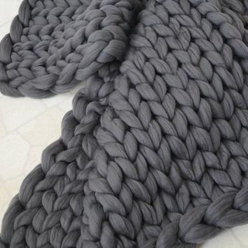 DZT1968 100*100cm Hand Chunky Knitted Blanket Thick Wool Bulky Knitting Throw - Walmart.com