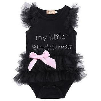 """My Little Black Dress"" Printed Infant Bodysuit Baby Romper With Tutu"