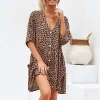 Summer Leopard Button Short Mini Dress Short Sleeve V-Neck Loose Casual Dress Women Ladies Beach Party Dress Vestidos de festa