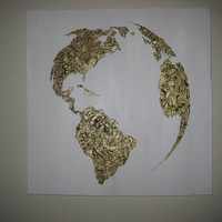 SALE Hand painted map of the world White and by 10kiaatstreet