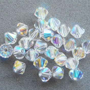 Lot of 24 4mm Czech Crystal AB glass faceted bicone beads, Preciosa Crystal AB bicones 3501