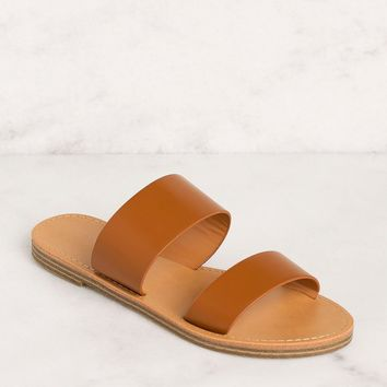 Katida Tan Slide On Sandals