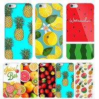 Fashion Fruit Pineapple Hard Back Cover for Apple iPhone5s 6 6s 7 Plus Phone case coque accessories Orange Watermelon Strawberry