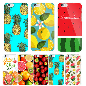 Fashion Fruit Pineapple Hard Back Cover for Apple iPhone SE 5s 5 6 6s Phone case coque accessories Orange Watermelon Strawberry